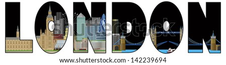 London England Skyline Panorama with Tower Bridge and Westminster Palace Text Outline Color Vector Illustration - stock vector