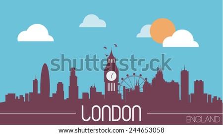 London England skyline silhouette flat design vector illustration - stock vector
