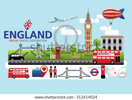 London,England Travel destination concept, Travel design templates collection, Info graphic elements for traveling to England. - stock vector