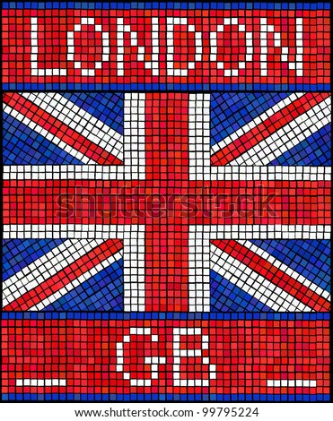 London GB summer holiday concept. A Union Jack flag made from mosaic tiles.vEPS10 vector format.