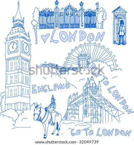 London hand drawn doodles - stock vector