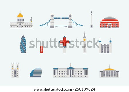 London  historical and modern building - stock vector