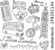 London icons doodle set - stock vector