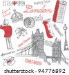 London icons doodles drawing background - stock vector