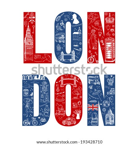 London Illustration Card - hand drawn in vector - stock vector