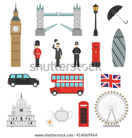 London landmarks weather and english traditions symbols isometric icons collections with big ban abstract isolated vector illustration  - stock vector