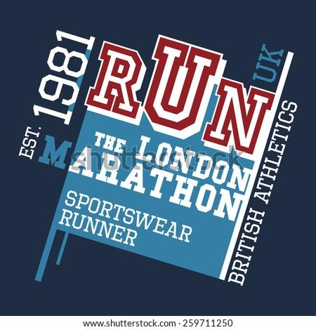 London Marathon british athletics, t-shirt typographic design - stock vector