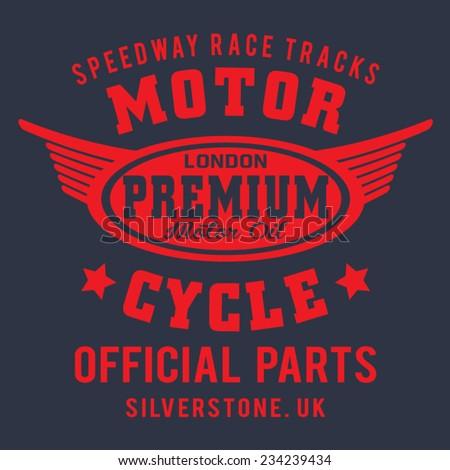 London motorcycle typography, t-shirt graphics, vectors - stock vector