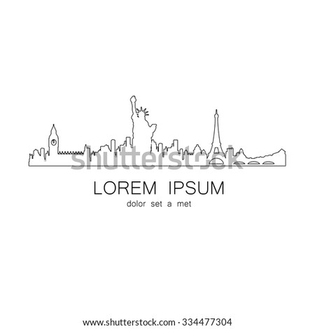 London, New York, Paris. Template design of logo. The idea for the design of global events, travel agency, souvenir products and others. - stock vector