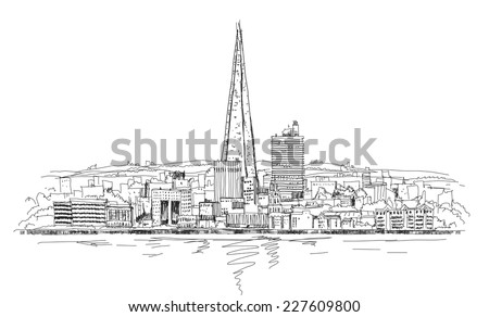 London panoramic view and Shard of glass building, Sketch collection - stock vector