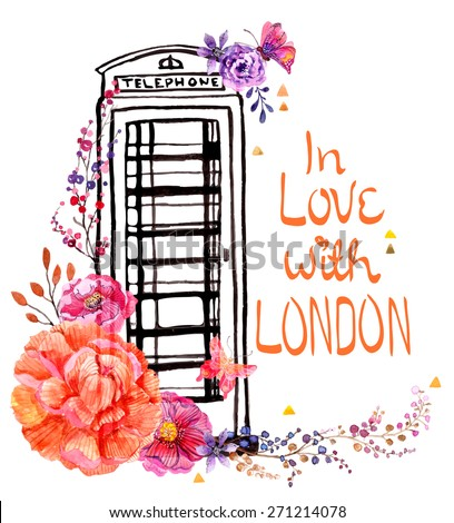 London phone booth with watercolor flowers, colorful illustration for beautiful travel design, Vector - stock vector