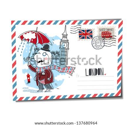 London postcard - stock vector