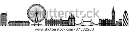 London Skyline Detailed Silhouette Black Vector Illustration - stock vector