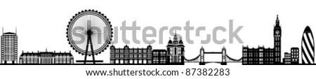 London Skyline Detailed Silhouette Black Vector Illustration - stock vector