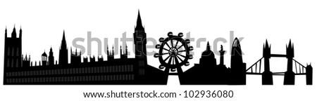 London skyline in grunge style - stock vector