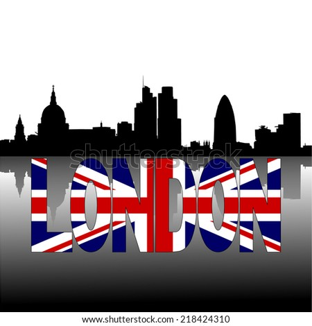 London skyline reflected with American flag text vector illustration - stock vector