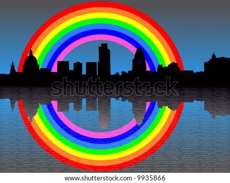 London skyline reflected with rainbow illustration - stock vector