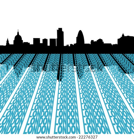 London skyline reflected with text illustration - stock vector