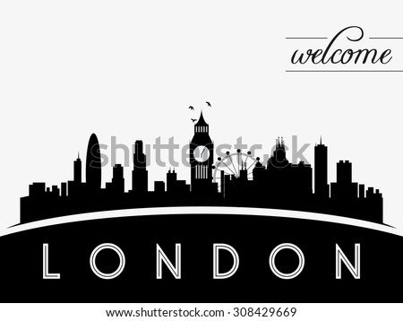 London Skyline Silhouette Vector Illustration Black And White Design