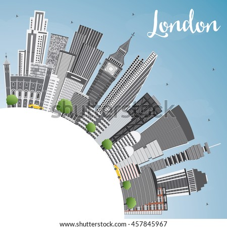 London Skyline with Gray Buildings, Blue Sky and Copy Space. Business Travel and Tourism Concept with Modern Buildings. Image for Presentation Banner Placard and Web Site.