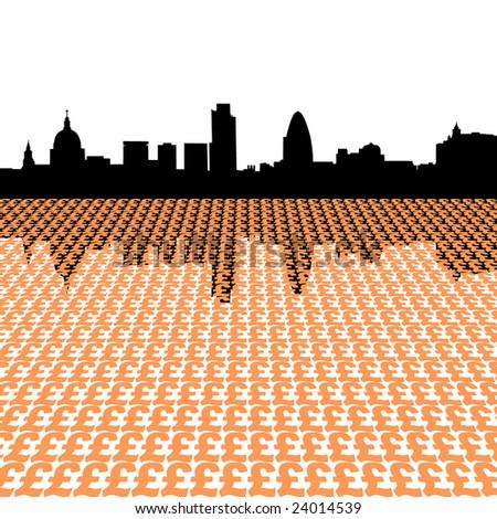 London skyline with pound symbols illustration - stock vector