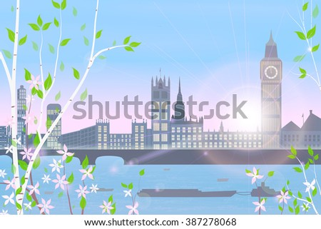 London, spring, cityscape on blue sky and sun background, birch and flowering shrubs in the foreground,  vector illustration - stock vector