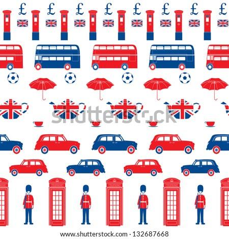 London symbols - cons - Seamless vector patten - Silhouette - stock vector