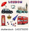 London symbols. Set of drawings. - stock vector