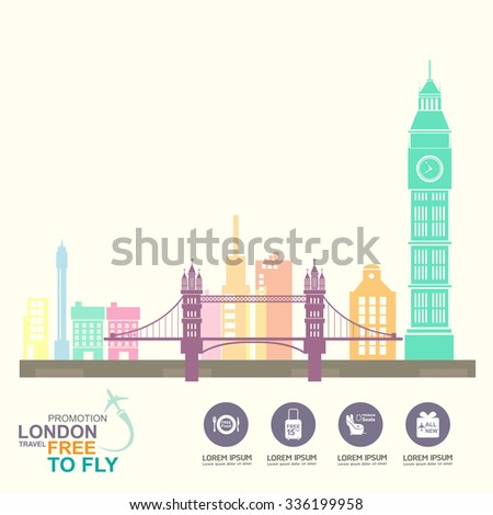 London Travel Free to Fly - stock vector