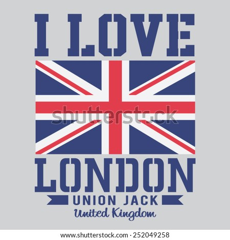 London typography : I love London, , t-shirt graphics, vectors,  - stock vector