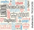 London typography seamless background with crowns - stock vector