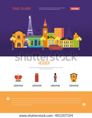 London, United Kingdom and France flat icons design travel concept. London landscape. One page web design template with color line icons of  travel to Europe. - stock vector