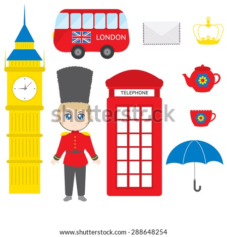 London - variety of London related design elements - stock vector