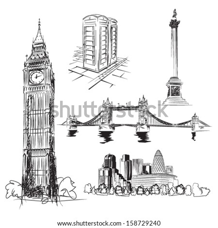 London vector drawings - illustration package of important landmarks of London, UK - stock vector