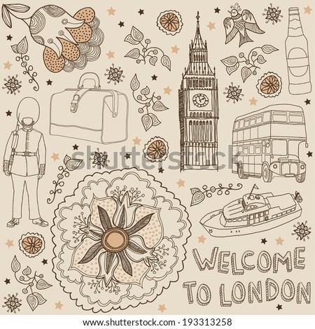 London. Vector illustration with text. Welcome to london - stock vector
