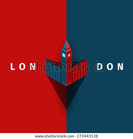 London vector poster with Big Ben in simple style - stock vector