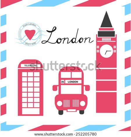 London vector set, Red bus, Big Ben, a telephone booth United Kingdom - stock vector