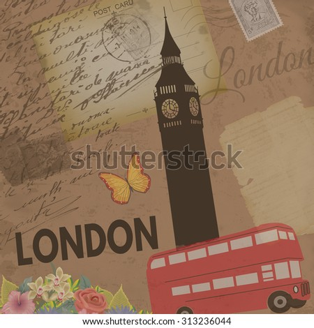 London vintage poster on nostalgic retro background with old post cards, letters and Big ben tower , vector illustration - stock vector