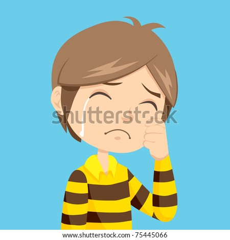 Lonely and sad little boy crying with stripped polo shirt - stock vector