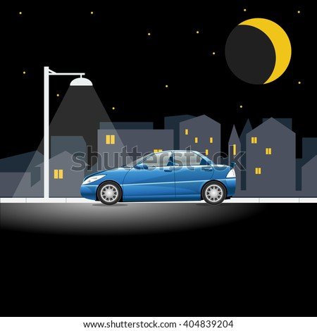 Lonely blue colored car on an empty night street. Lamppost shining in the night above a vehicle on a city street. Digital vector illustration. - stock vector