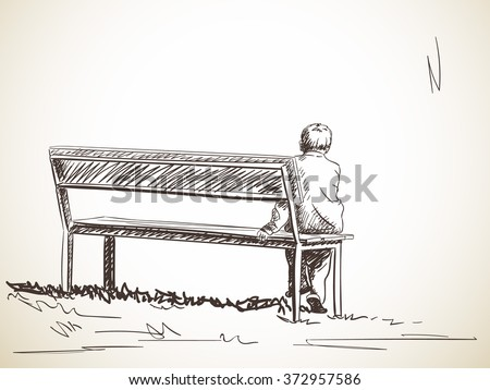 Lonely boy sitting on bench hand stock vector 372957586 - Cartoon girl sitting alone ...