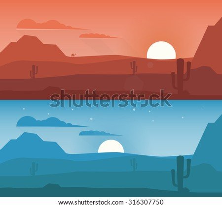 Lonely desert wild nature landscapes with cactus and camel. Vector illustration - stock vector - stock vector