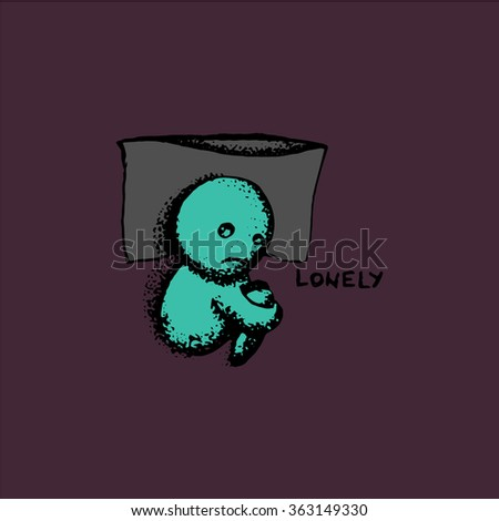 Lonely doodle in color - stock vector