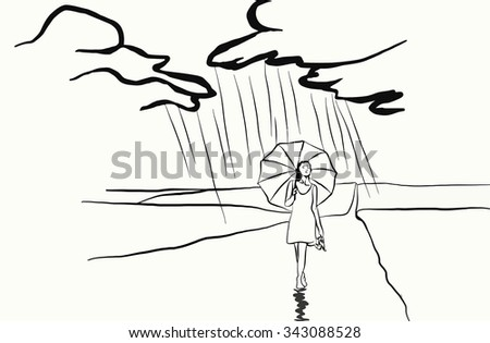 lonely girl barefoot on the road with an umbrella in the rain - stock vector