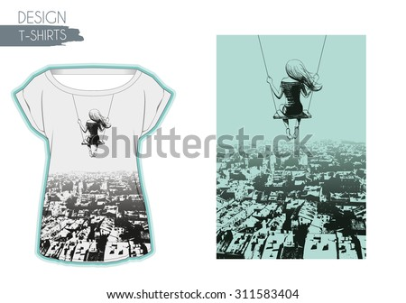 Lonely girl on swing against backdrop of city. Sketch. T-shirts design - stock vector