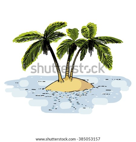Lonely island with palms