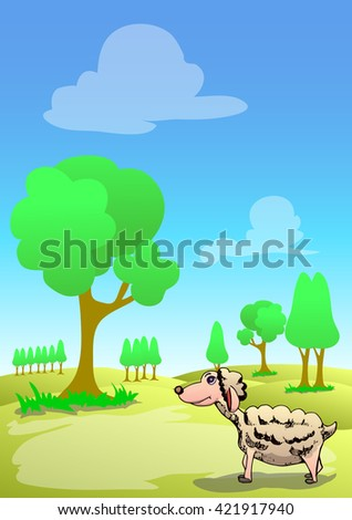 lonely lamb on sunny day landscape background - stock vector