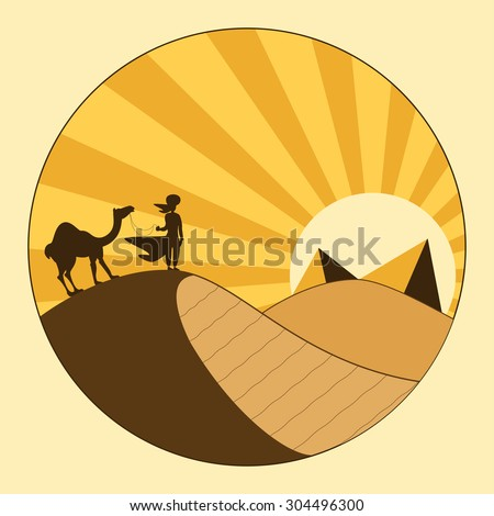 Lonely nomad and camel silhouettes on top of dune looking to pyramids and sunset. African egypt sahara landscape vacation postcard. Wild journey or adventure safari tourism concept. - stock vector