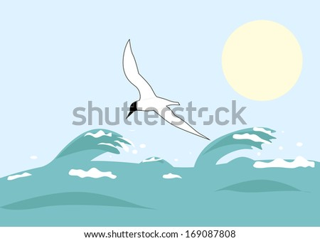 Lonely seagull over sea waves. vector illustration - stock vector