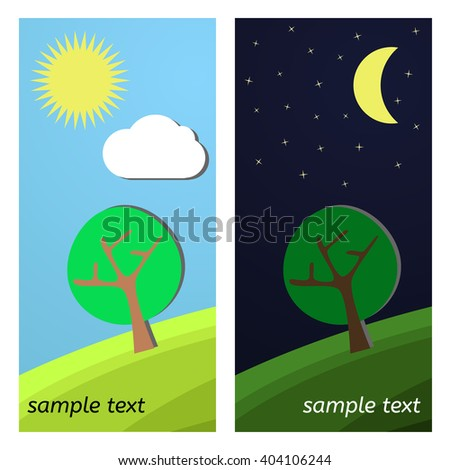 Lonely Tree. Day and Night on a Clearing. - stock vector